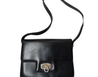 french 60s 70s leather PURSE handbag blue