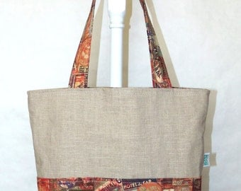 Reversable Four Pocket Market Tote Linen and Cotton Travel Theme Grocery Bag