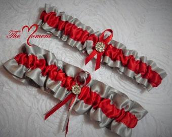 Gray and Red Garter Set, Keepsake and Toss-away Garter Set, Red and Gray Garter, Ribbon Garter, Prom Garter, Red Garter, Bridal Garter