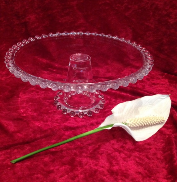 Imperial Glass Candlewick Cake Stand Beaded Glassvintage