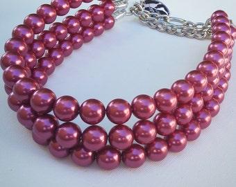 Magenta Triple Strand Chunky Pearl Dog Collar,Buckle Collars, Martingale Collars, Dog Pearls, Half Check Collar, UNBREAKABLE GUARANTEE!