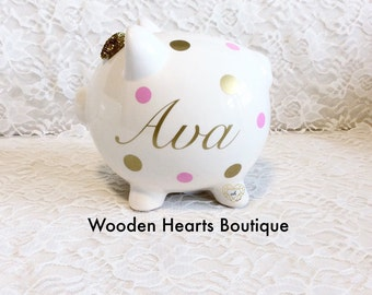 Piggy Bank Personalized, Custom Piggy Bank, Gold Piggy Bank, Large Bank, Piggy Bank, Bank, Girl Bank, Boy Bank, Baby Bank