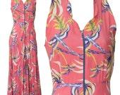 1930s Small Dress Rayon Maxi Tank Tropical Pink Palm Tree Novelty Print Tiki Retro Summer Resort Petite XS Honeymoon Hawaiian Polynesian Mod