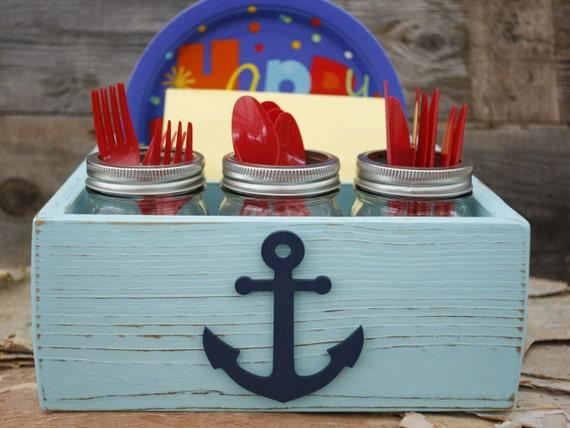 picnic paper plate napkin holder box caddy anchor nautical. Black Bedroom Furniture Sets. Home Design Ideas