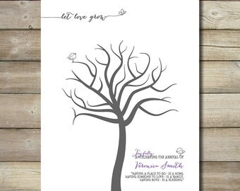 Customized Girl Baby Shower Fingerprint Finger Print Thumb Tree Guest Book Guestbook Bird Birds Butterfly Let Love Grow 8x10 11x14 Picture