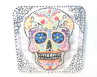 Glow in the Dark Sugar Skull Box / Desk Organizer / Jewelry Box