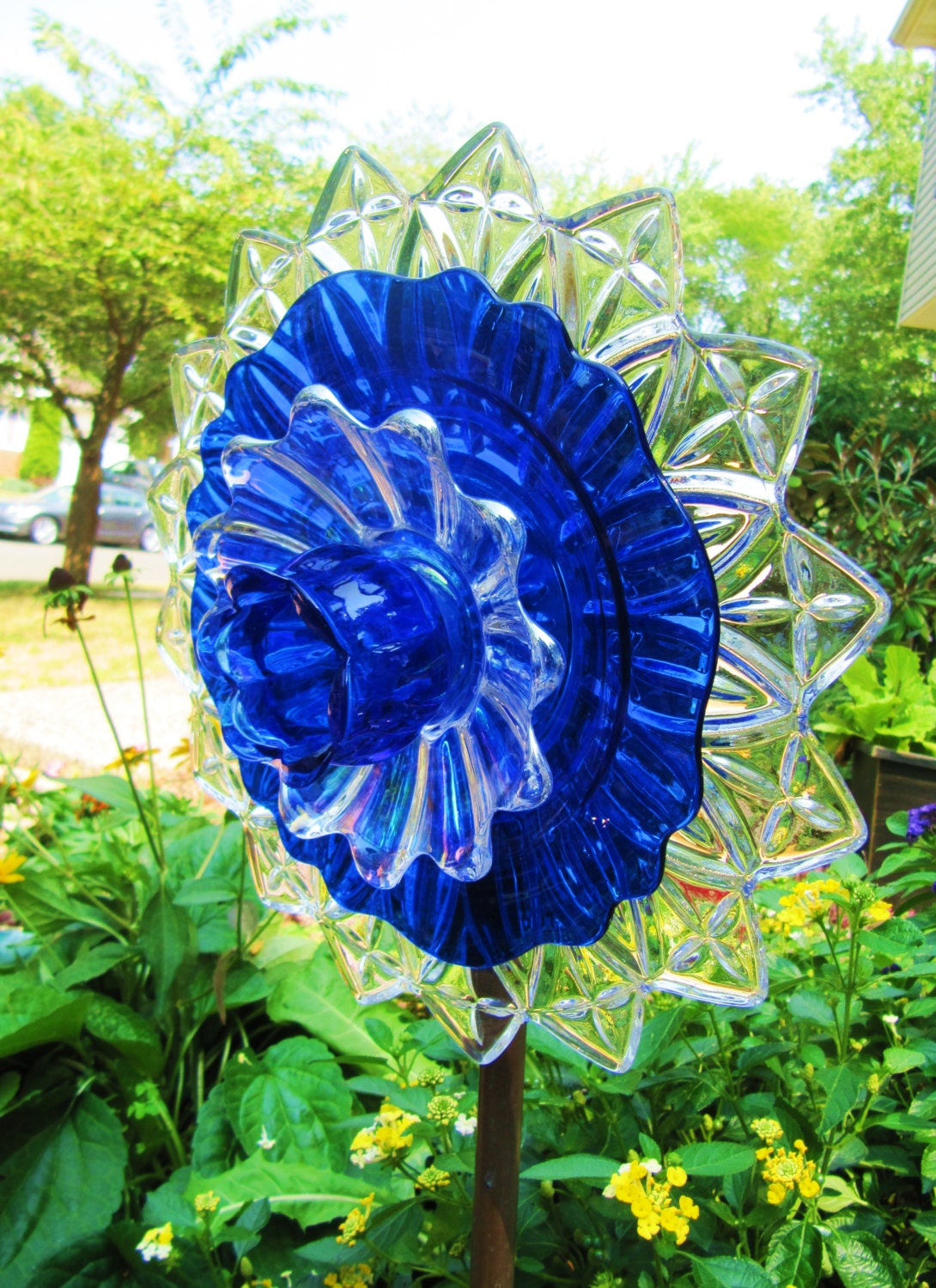 glass plate flower art glass yard art garden glass art