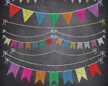 """Chalkboard Bunting Banner Clipart  """"BUNTING BANNER """" Flag clipart,Party Banner,Chalkboard Banner,Colorful Flag, Instant Download Ca045"""