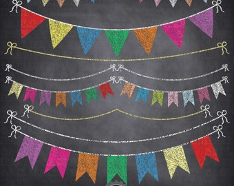 "Chalkboard Bunting Banner Clipart  ""BUNTING BANNER "" Flag clipart,Party Banner,Chalkboard Banner,Colorful Flag, Instant Download Ca045"