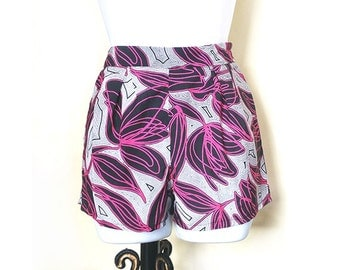Stunning Black White & Pink Floral African Print Mini Shorts in 5 available sizes