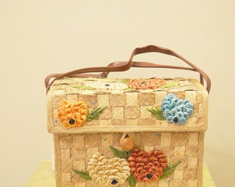 Vintage straw basket purse with raffia blue, red and orange floral / flower detail, plastic leather handle - Whidby Bags
