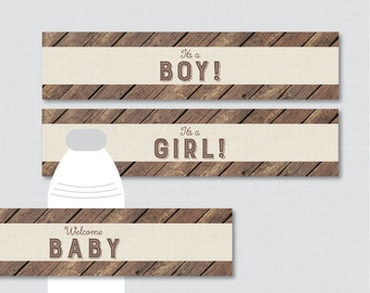 Rustic Baby Shower Water Bottle Labels Printable - Wood and Burlap Rustic Baby Shower Water Bottle Labels -  Instant Download - 0034
