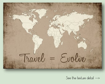 Watercolor world map download colorful abstract wall art decor world map with countries beige brown rustic large world map of the world travel quote wall gumiabroncs Images