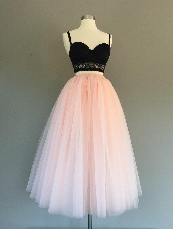 Tulle Skirt Floor Length Tulle Skirt Light Blush Tulle