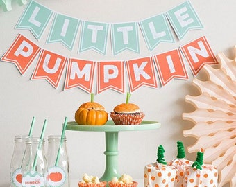 Little Pumpkin - Fall Baby Shower Banner - Autumn Baby Shower Decor - Halloween Baby Shower Banner