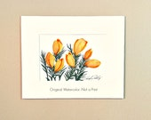Crocus, Original Watercolor Painting of Yellow Crocus