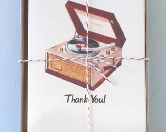 Boxed Set 8 Thank You Notecards Vintage Record Player