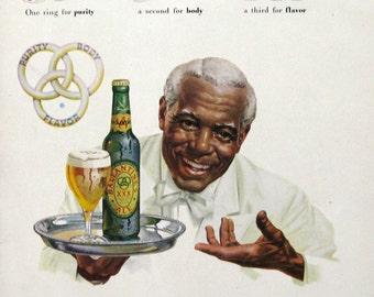 1948 Ballantine Ale Advertising - Purity, Body, Flavor - African American Man - 1940s Butler in Uniform - Realistic Watercolor Portrait Art