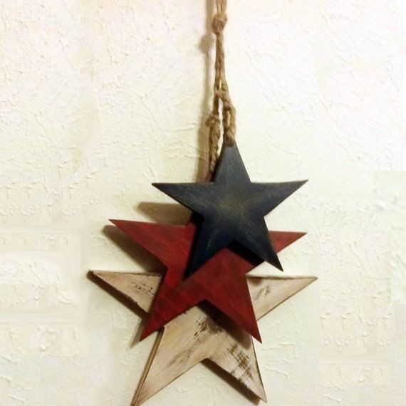 Blue Star Wall Decor : Hanging star wall decor three stars on jute rope red white