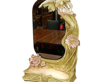 5999 Beautiful Art Nouveau Mirror with Figural Lady