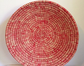 Hand Woven Sisal Basket - Speckle - Red/Natural