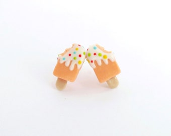 Sweet orange ice cream earring, cute ice cream earring, polymer clay food earring, ice cream jewellery, birthday gift, gift