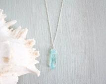 Light Blue Crystal Quartz Necklace - Bright Blue / Green Crystal Pendant - Aqua Crystal Quartz Necklace - Pastel Blue Crystal Quartz