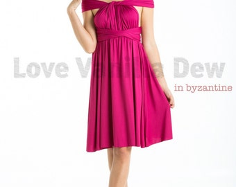 Bridesmaid Dress Infinity Dress Byzantine Straight Hem Knee Length Wrap Convertible Dress Wedding Dress