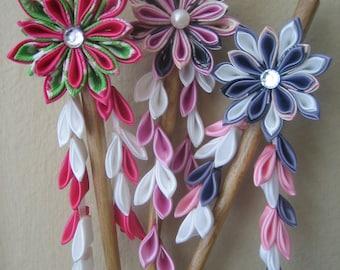 Kanzashi Ribbon Flower Hair Stick