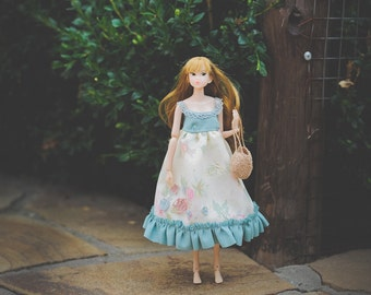 Floral Dress for Momoko doll - momoko dress - momoko clothes - momoko doll blue pink vintage