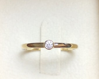 Diamond Solitaire Ring - 14K Gold Diamond Solitaire Ring-Engagement Ring-Hand Made Ring