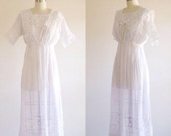 Edwardian dress- White wedding dress- Antique dress- 1910s dress-Lawn dress-Cotton wedding dress-Day dress-Simple wedding dress- Petite/ XS
