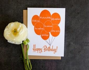 Birthday. Language Balloons Letterpress Card