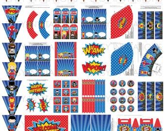 Superhero Party Pack Printable Digital Instant Hero Birthday