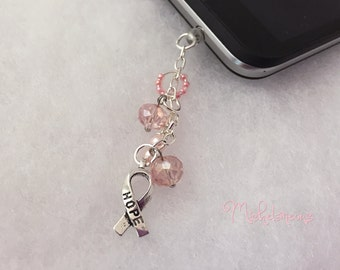 Pink, Cancer, Breast Cancer, Awareness, Phone, Charm, Plug, Cell Phone, Dust Plug, Phone Charm, Cell Phone Accessories, Cell Phone Charm