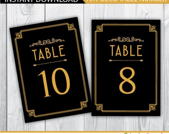 wedding table numbers gold / wedding table numbers / wedding table number cards / wedding table numbers printable / art deco table numbers