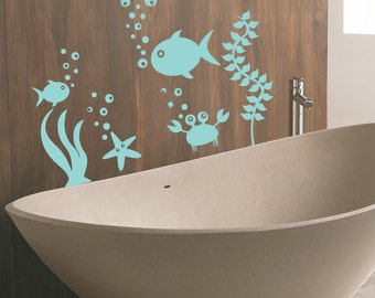 Wall Decals Fish Starfish Seaweed Vinyl Decal Bubbles Art Mural Sticker Bathroom Interior Design Nursery Girl Boy Kids Room Dorm Decor MR436