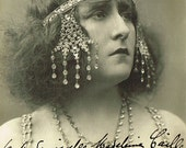 Unique 1900s Art Nouveau French Opera Star Simone Logien with Stunning Headdress as Salome, Original Signature Real Photo Postcard