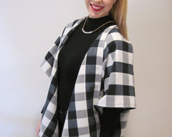 Wool Blend Black and White Cape