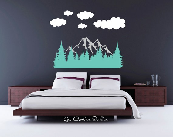 forest wall decal tree decal mountain wall decal mountain. Black Bedroom Furniture Sets. Home Design Ideas