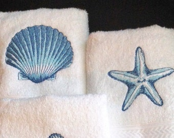Coastal Hand Towels set of 2 - embroidered starfish and sea shell nautical design on plush 16x30 towels