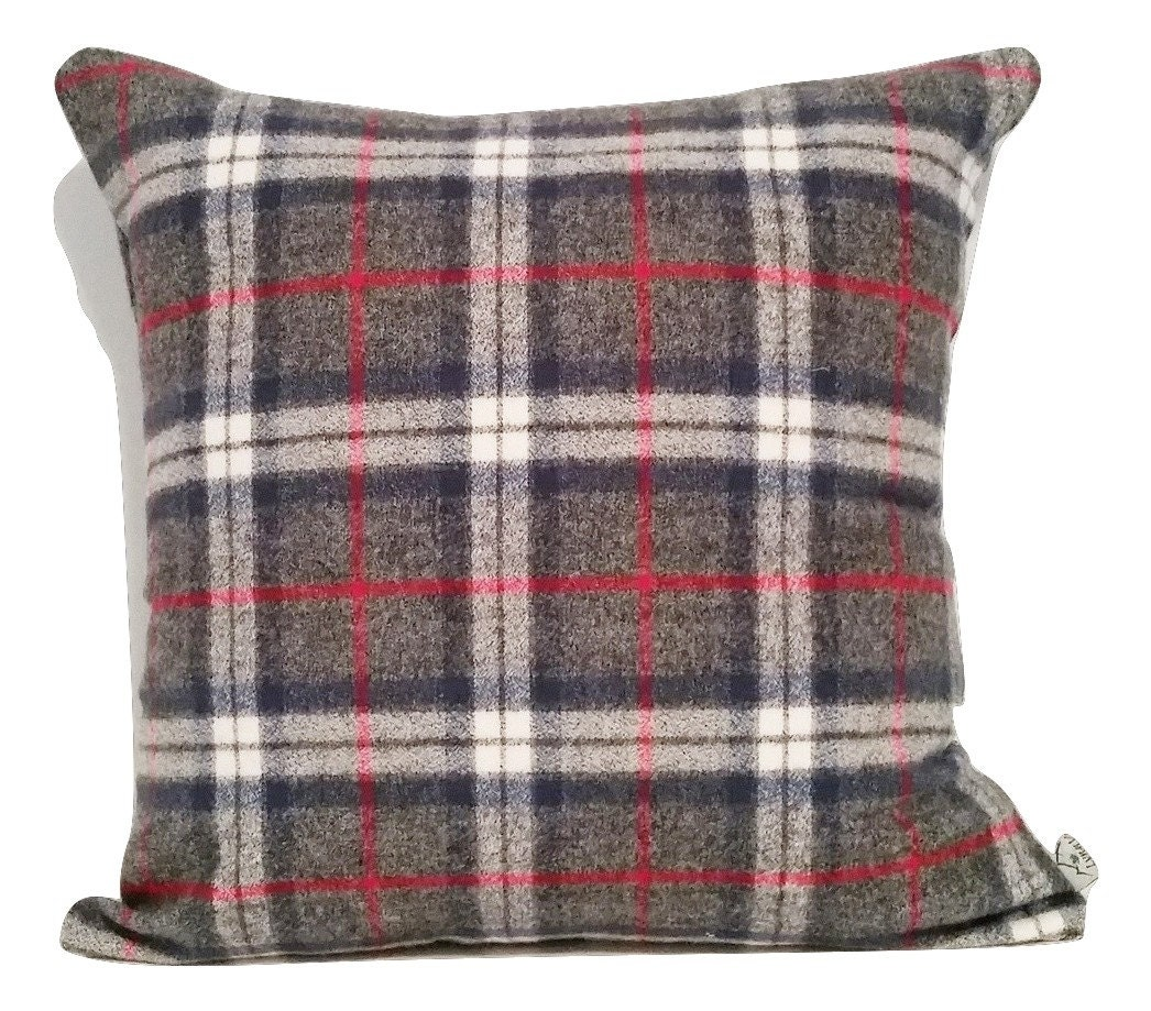 Plaid Wool Pillow Cover Throw Pillow Cover by LynnVaVancouver