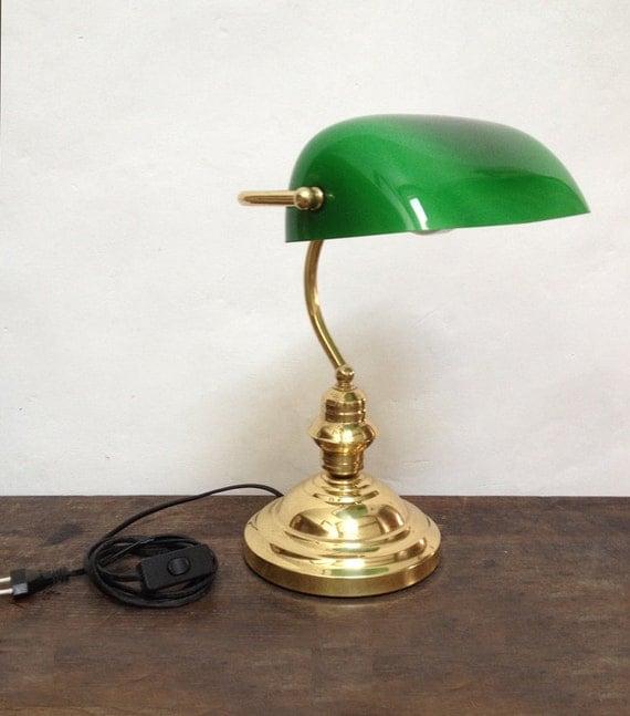 Lampe de bureau vintage orientable avec opaline verte et pied - Lampe de bureau retro ...
