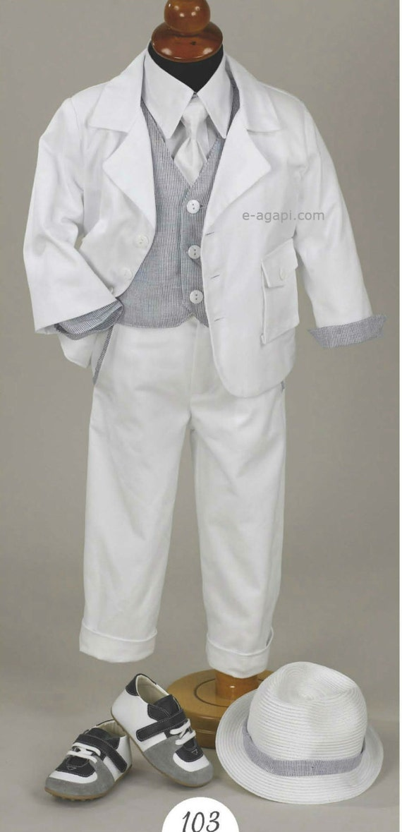 7 pc couture baby boy baptism outfit set greek baptism - Taufe outfit junge ...