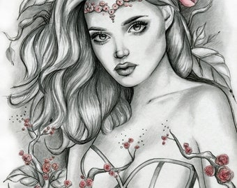 Pencil Sketch Drawing - Girl Portrait Roses - Fine Art Print