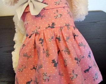 Pink Poodle Dog Dress with Bow and Peter Pan Collar - Pink Dog Dress - Pet Clothes