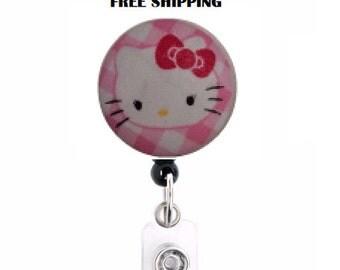 Hello kitty retractable badge holder -free shipping-ready to ship