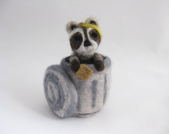 Raccoon in trash can eating lunch, needle felted wool animal miniature - Coon Capers