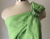 Linen Ring Sling Baby Carrier-Green striped Ring Sling/100% LINEN Ring Slings/Ring Sling Linen/Sakura Inspired/Ring Sling/Ring Sling on Etsy