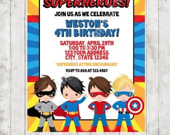 All Boy Superhero Birthday Invitation - Custom Printed Superhero Birthday Invitation - by Dancing Frog Invitations